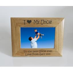 Uncle Photo Frame 6 x 4 - I heart-Love My Uncle 6 x 4 Photo Frame - Free Engraving