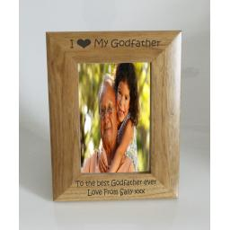 Godfather Photo Frame 4 x 6 - I heart-Love My Godfather 4 x 6 Photo Frame - Free Engraving