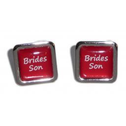 Brides Son Red Square Wedding Cufflinks