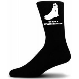 Elegant Bride And Groom Figure Black Wedding Socks - Godfather
