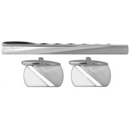 Diagonal Shiny & brushed design Cufflink and Tie Slide Set A Great High Quality Product