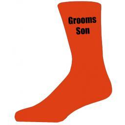 Orange Wedding Socks with Black Grooms Son Title Adult size UK 6-12 Euro 39-49
