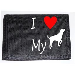 I Love my Dog on a Black Nylon Wallet, Lovely Birthday, Fathers Day or Christmas Gift