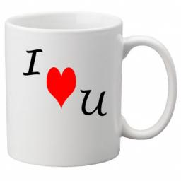 I Heart U - I Love You Diagonally on a Quality Mug, Valentines, Birthday or Christmas Gift Great Novelty 11oz Mug