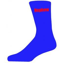 Blue Wedding Socks with Red Nephew Title Adult size UK 6-12 Euro 39-49