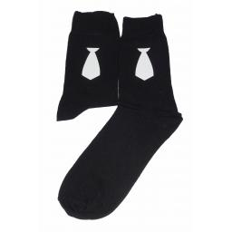 White Neck Tie on Socks, Great Novelty Gift Socks Luxury Cotton Novelty Socks Adult size UK 6-12 Euro 39-49