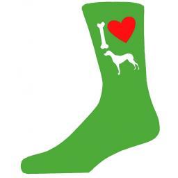Green Novelty Great Dane Socks - I Love My Dog Socks