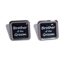Brother of the Groom Black Square Wedding Cufflinks