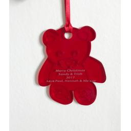 Red Acrylic Hanging Teddy - Christmas Tree / Home Decor- Free Personalisation