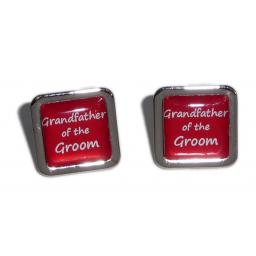 Grandfather of the Groom Red Square Wedding Cufflinks