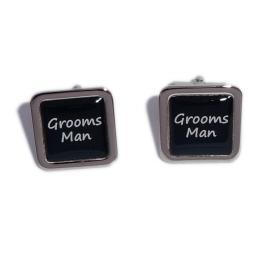 Grooms Man Black Square Wedding Cufflinks