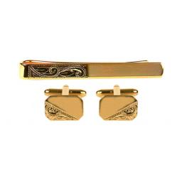 Partially engraved cufflink & Tie Slides Set All our cufflinks come presented in a gift box