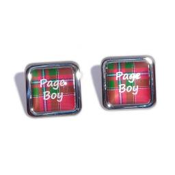 Page Boy Red Tartan Square Wedding Cufflinks