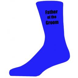 Blue Wedding Socks with Black Father of the Groom Title Adult size UK 6-12 Euro 39-49