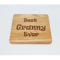 Best Granny Ever Wooden Engraved Coaster