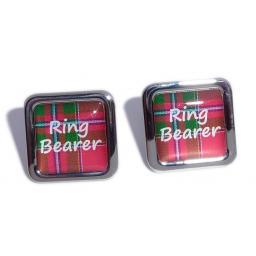 Ring Bearer Red Tartan Square Wedding Cufflinks