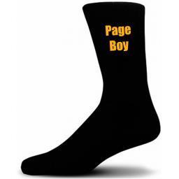 Black Wedding Socks with Yellow Page Boy Title Adult size UK 6-12 Euro 39-49