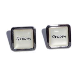 Groom Ivory Square Wedding Cufflinks
