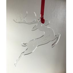 Clear Acrylic Hanging Reigndeer - Christmas Tree / Home Decor- Free Personal