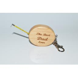 The Best Dad Ever Wooden Tape Measure Key Ring
