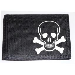 Scull & Crossbones on a Black Nylon Wallet, Funky Birthday, Fathers Day or Christmas Gift