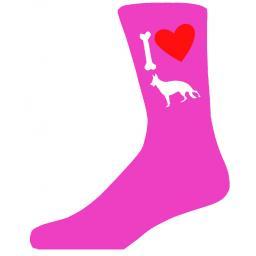 Hot Pink Ladies Novelty German Shepherd Socks- I Love My Dog Socks Luxury Cotton Novelty Socks Adult size UK 5-12 Euro 39-49
