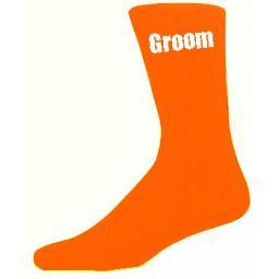 Orange Mens Wedding Socks - High Quality Groom Orange Socks (Adult 6-12)
