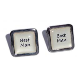 Best Man Ivory Square Wedding Cufflinks
