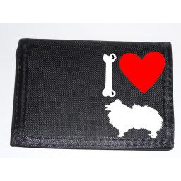 I Love Pomeranian Dogs on a Black Nylon Wallet, Stunning Birthday, Fathers Day or Christmas Gift