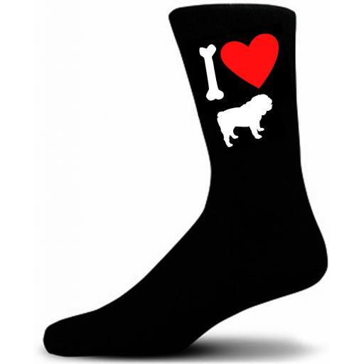 Mens Black Novelty Bulldog Socks- I Love My Dog Socks Luxury Cotton Novelty Socks Adult size UK 5-12 Euro 39-49