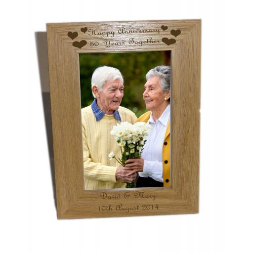 Happy Anniversary, 50 years Wooden Photo Frame 4x6 - Free Engraving - Please email glamgifts50@yahoo co uk