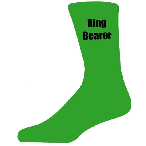Green Wedding Socks with Black Ring Bearer Title Adult size UK 6-12 Euro 39-49