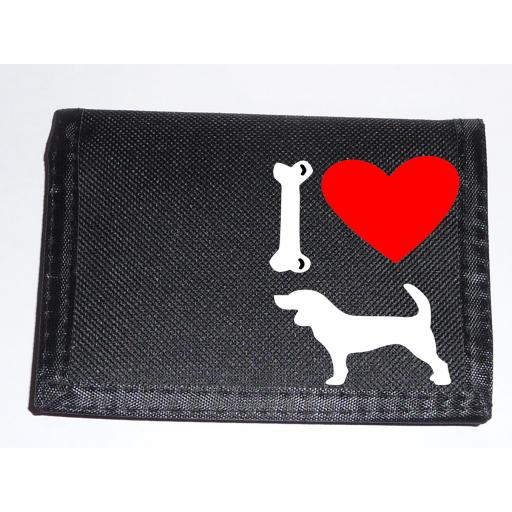 I Love Beagle Dogs on a Black Nylon Wallet, Stunning Birthday, Fathers Day or Christmas Gift