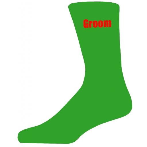 Green Wedding Socks with Red Groom Title Adult size UK 6-12 Euro 39-49