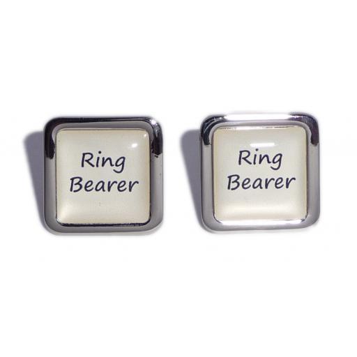 Ring Bearer Ivory Square Wedding Cufflinks