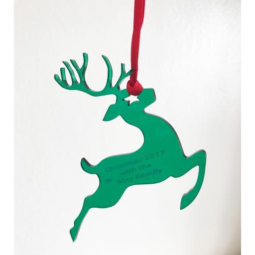 Green Acrylic Hanging Reigndeer - Christmas Tree / Home Decor- Free Personal