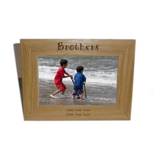 Brothers Wooden Photo frame 6 x 4 - Personalise this frame - Free Engraving - Please email glamgifts50@yahoo co uk