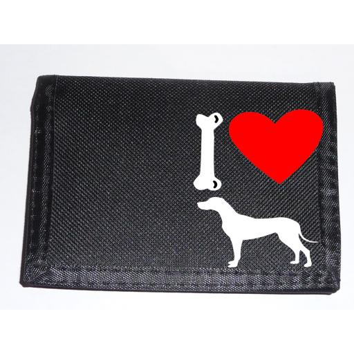 I Love Great Dane Dogs on a Black Nylon Wallet, Stunning Birthday, Fathers Day or Christmas Gift