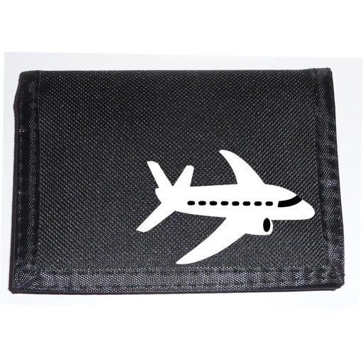 Jet Plane on a Black Nylon Wallet, Cute Birthday, Fathers Day or Christmas Gift