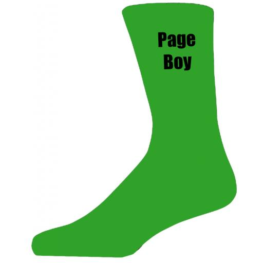 Green Wedding Socks with Black Page Boy Title Adult size UK 6-12 Euro 39-49