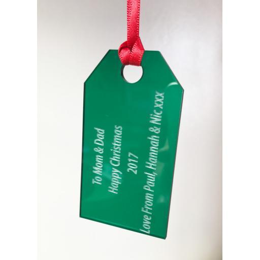 Green Acrylic Hanging Gift Tag - Christmas Tree / Home Decor- Free Personal