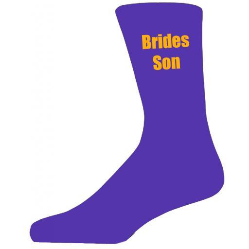 Purple Wedding Socks with Yellow Brides Son Title Adult size UK 6-12 Euro 39-49