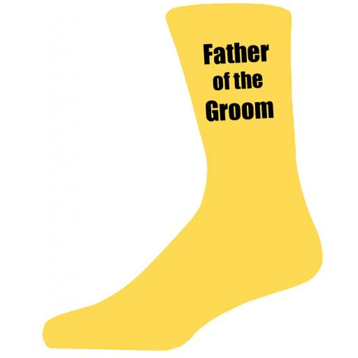 Yellow Wedding Socks with Black Father of The Groom Title Adult size UK 6-12 Euro 39-49