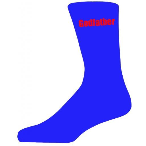 Blue Wedding Socks with Red Godfather Title Adult size UK 6-12 Euro 39-49