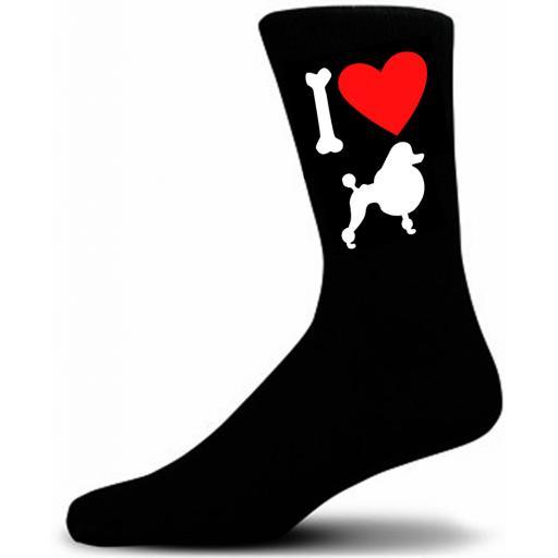 Mens Black Novelty Poodle Socks- I Love My Dog Socks Luxury Cotton Novelty Socks Adult size UK 5-12 Euro 39-49