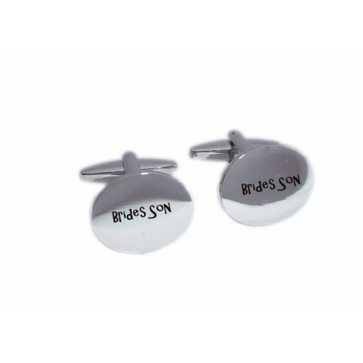 Brides Son Oval Laser Engraved Cufflinks for the Wedding Party. Goom, Best Man, Father of The Bride. All cufflinks come with an organza gift pouch.