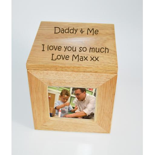 Personalised Oak Wooden Photo Box Keepsake Cube Box Engraved - Daddy & Me