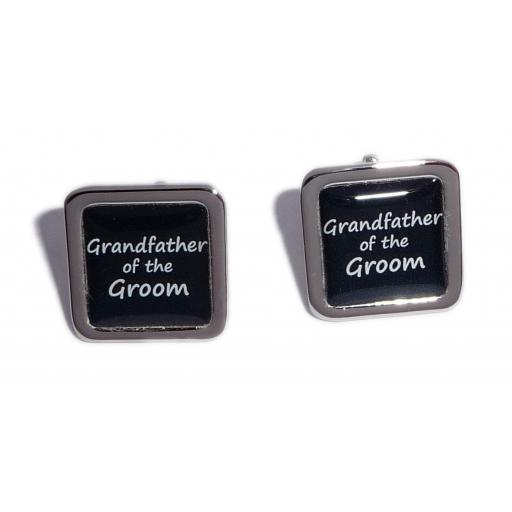 Grandfather of the Groom Black Square Wedding Cufflinks