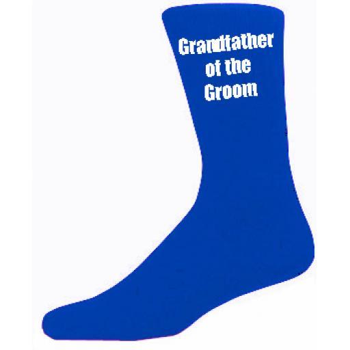 Blue Mens Wedding Socks - High Quality Grandfather of the Groom Blue Socks (Adult 6-12)