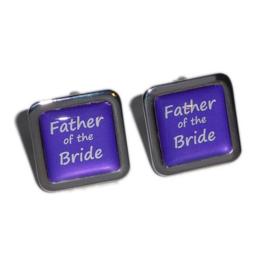 Father of the Bride Purple Square Wedding Cufflinks